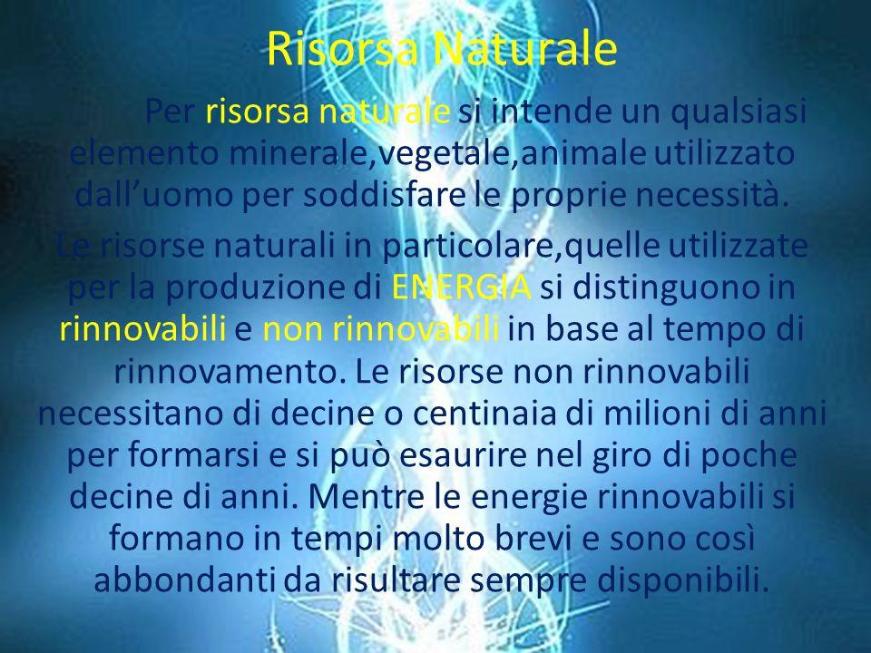 Risorsa Naturale Per risorsa naturale si intende un qualsiasi elemento minerale,vegetale,animale utilizzato dall'uomo per soddisfare le proprie necessità.