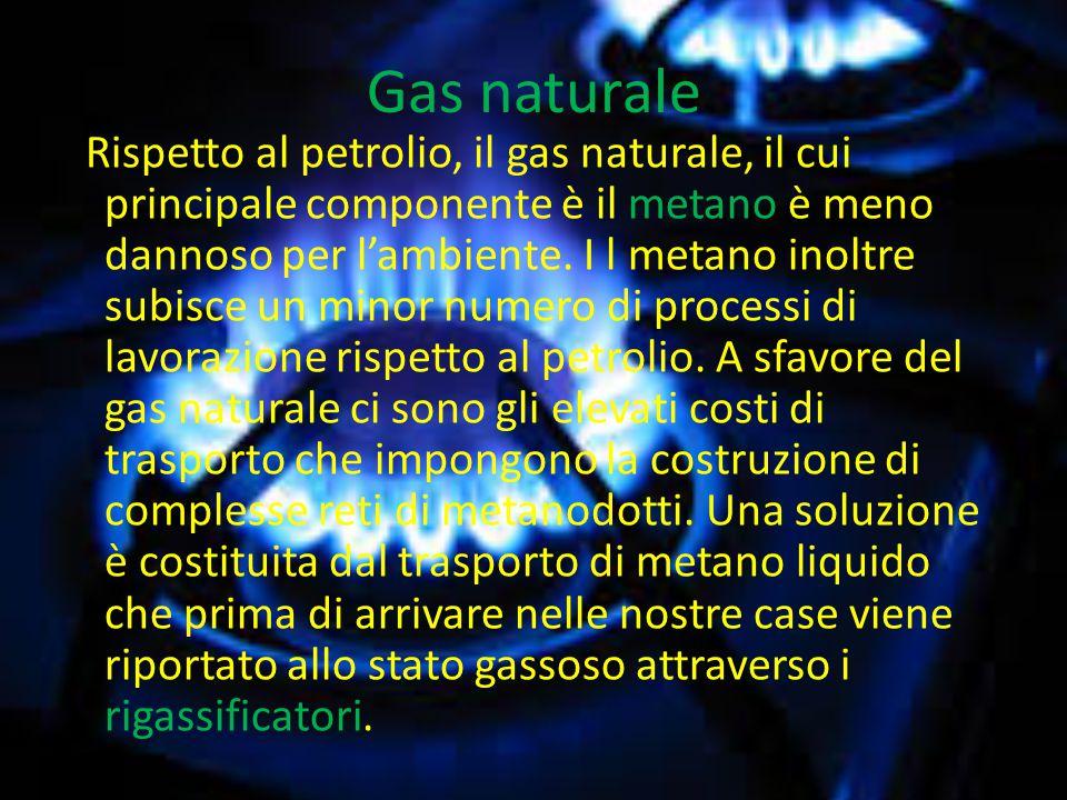 Gas naturale Rispetto al petrolio, il gas naturale, il cui principale componente è il metano è meno dannoso per l'ambiente.