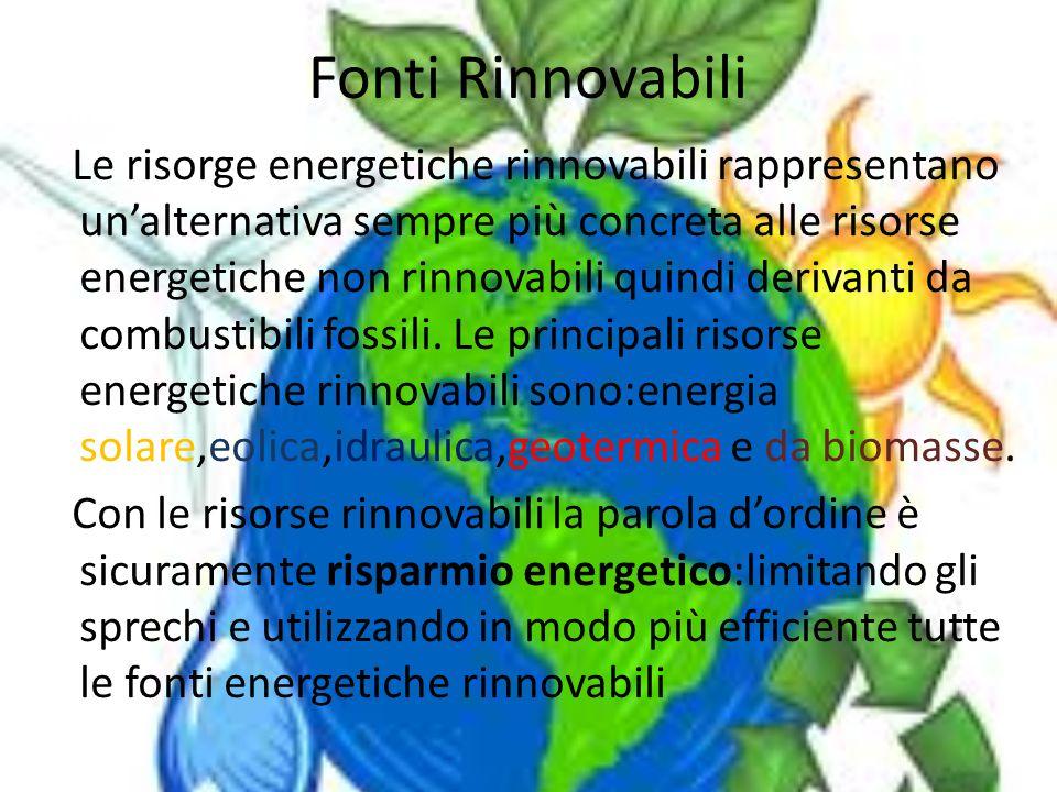Fonti Rinnovabili Le risorge energetiche rinnovabili rappresentano un'alternativa sempre più concreta alle risorse energetiche non rinnovabili quindi derivanti da combustibili fossili.