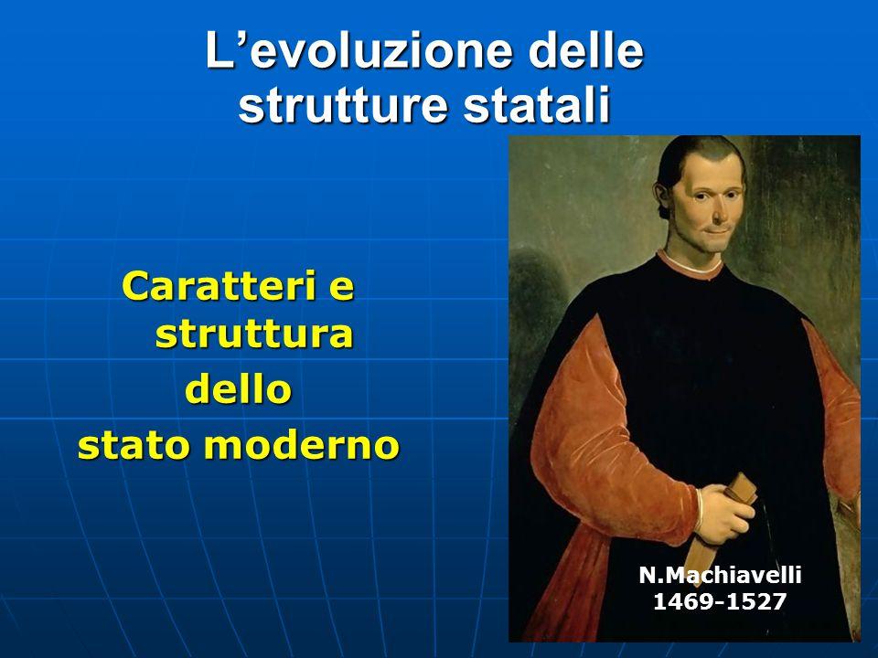 L'evoluzione delle strutture statali Caratteri e struttura dello stato moderno N.Machiavelli 1469-1527