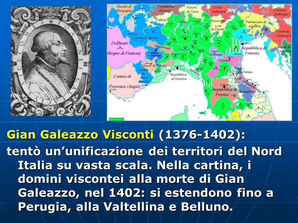 La Repubblica di Venezia (detta Serenissima): oltre che sul mare, si estese anche sulla terraferma in conflitto con Milano per assicurarsi i passi montani in comunicazione con la Germania.