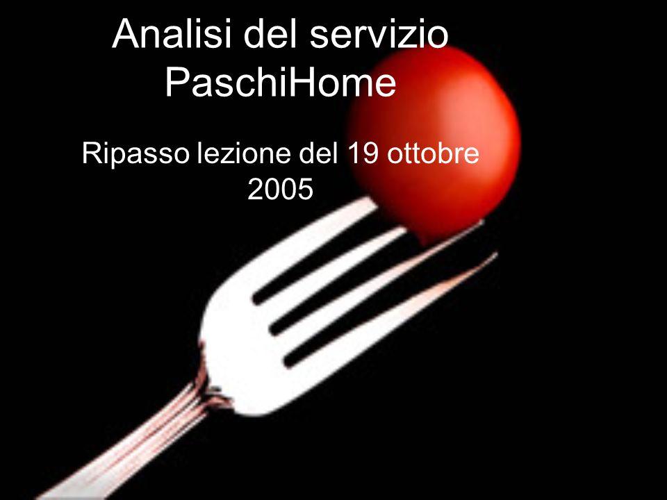 Analisi del servizio PaschiHome Ripasso lezione del 19 ottobre 2005