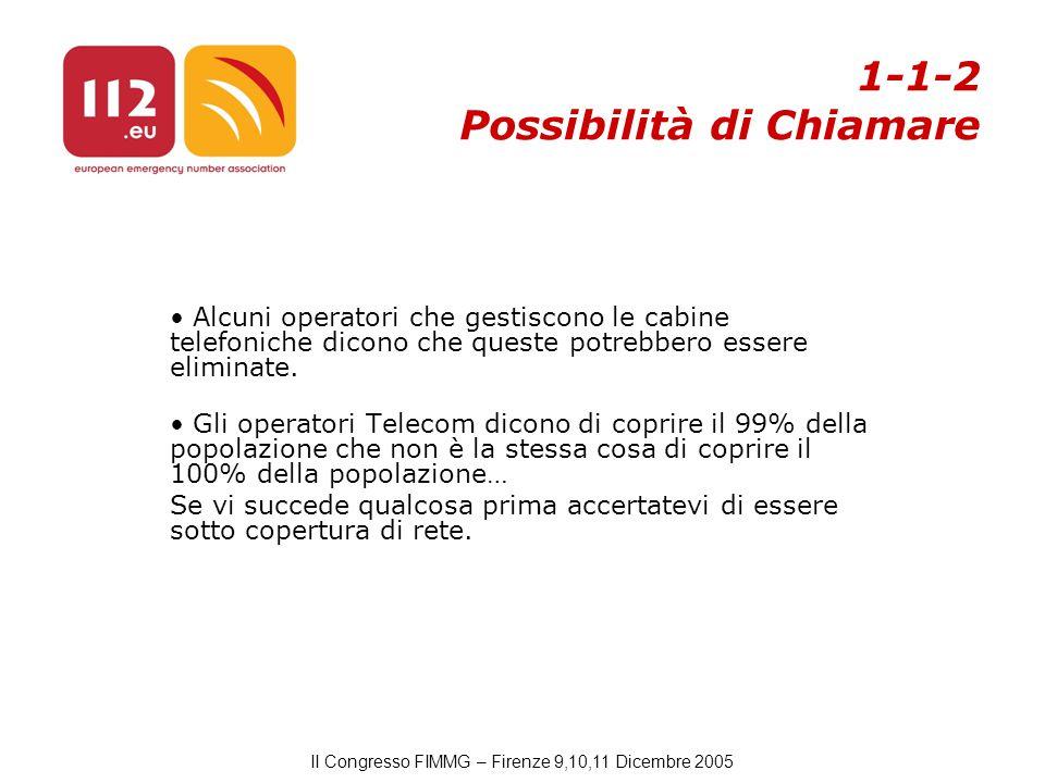 II Congresso FIMMG – Firenze 9,10,11 Dicembre 2005 Alcuni operatori che gestiscono le cabine telefoniche dicono che queste potrebbero essere eliminate.