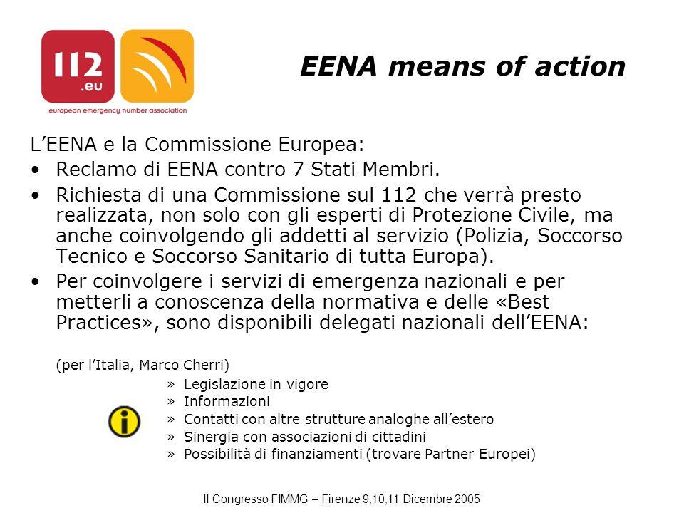 II Congresso FIMMG – Firenze 9,10,11 Dicembre 2005 EENA means of action L'EENA e la Commissione Europea: Reclamo di EENA contro 7 Stati Membri.
