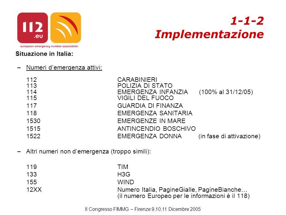 II Congresso FIMMG – Firenze 9,10,11 Dicembre 2005 1-1-2 Implementazione Situazione in Italia: –Numeri d'emergenza attivi: 112CARABINIERI 113POLIZIA DI STATO 114EMERGENZA INFANZIA (100% al 31/12/05) 115VIGILI DEL FUOCO 117GUARDIA DI FINANZA 118EMERGENZA SANITARIA 1530EMERGENZE IN MARE 1515ANTINCENDIO BOSCHIVO 1522EMERGENZA DONNA (in fase di attivazione) –Altri numeri non d'emergenza (troppo simili): 119TIM 133H3G 155WIND 12XXNumero Italia, PagineGialle, PagineBianche… (il numero Europeo per le informazioni è il 118)