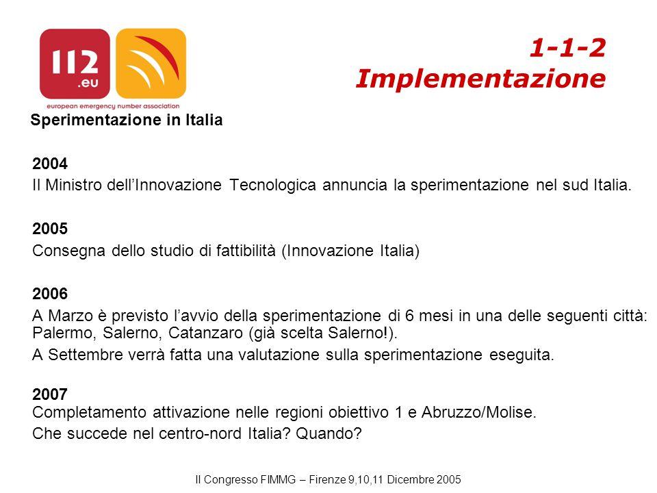 II Congresso FIMMG – Firenze 9,10,11 Dicembre 2005 1-1-2 Implementazione Sperimentazione in Italia 2004 Il Ministro dell'Innovazione Tecnologica annuncia la sperimentazione nel sud Italia.