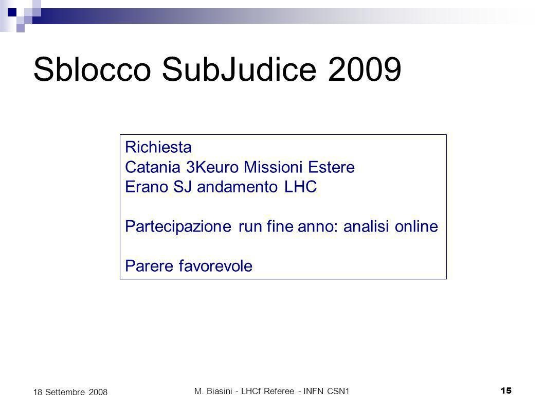 Sblocco SubJudice 2009 M.