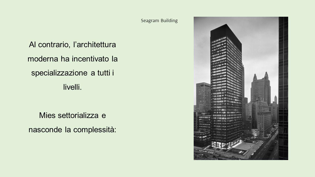 Seagram Building Al contrario, l'architettura moderna ha incentivato la specializzazione a tutti i livelli. Mies settorializza e nasconde la complessi