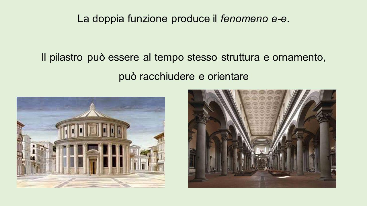 La doppia funzione produce il fenomeno e-e. Il pilastro può essere al tempo stesso struttura e ornamento, può racchiudere e orientare