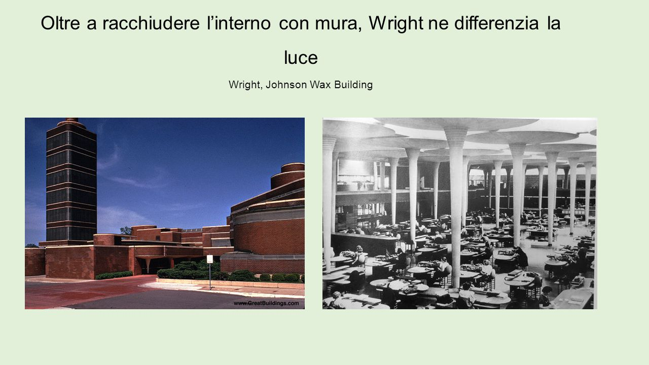 Oltre a racchiudere l'interno con mura, Wright ne differenzia la luce Wright, Johnson Wax Building