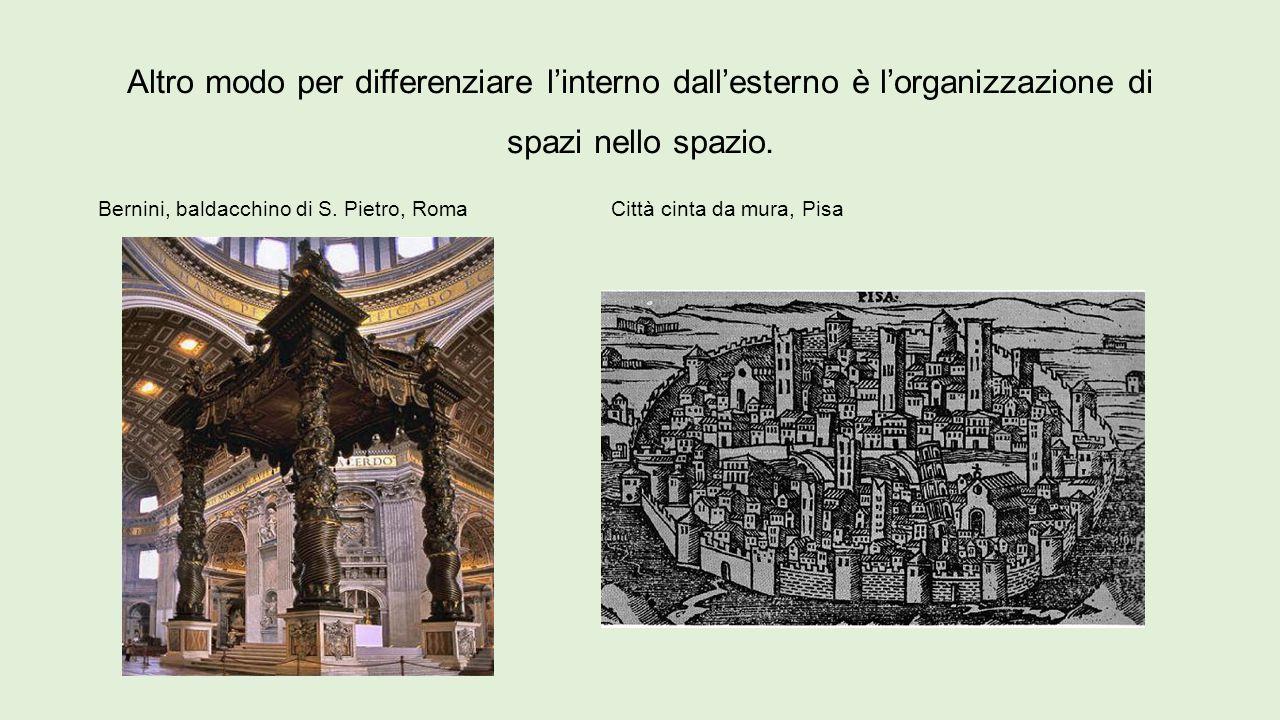 Altro modo per differenziare l'interno dall'esterno è l'organizzazione di spazi nello spazio. Bernini, baldacchino di S. Pietro, Roma Città cinta da m