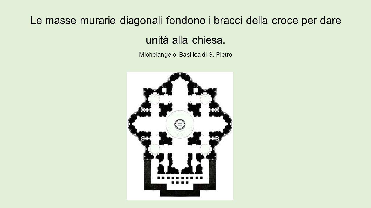 Le masse murarie diagonali fondono i bracci della croce per dare unità alla chiesa. Michelangelo, Basilica di S. Pietro