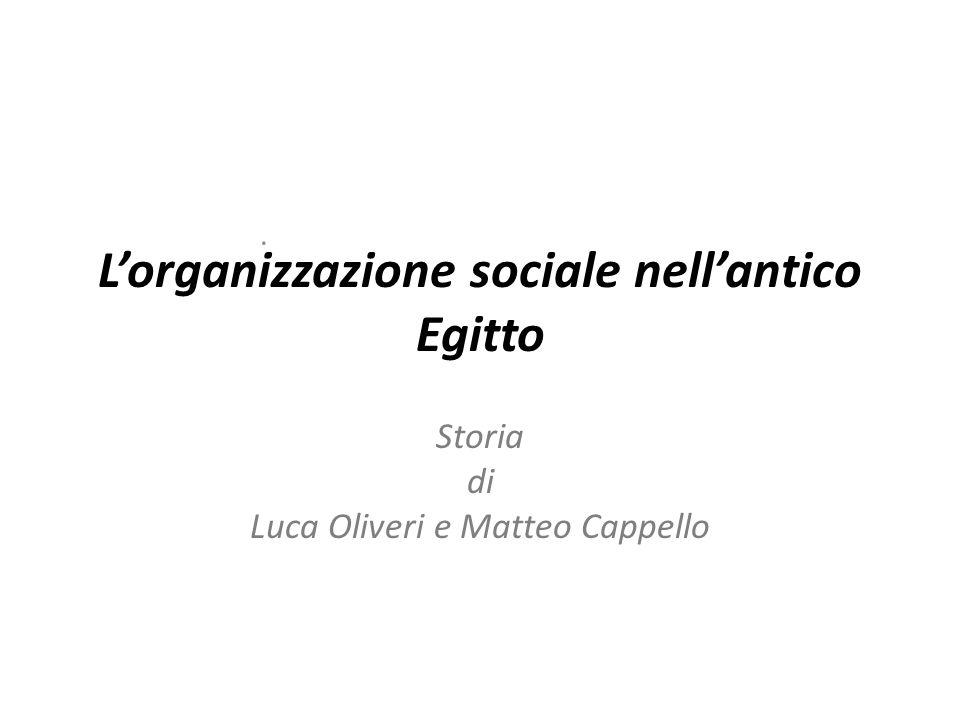 L'organizzazione sociale nell'antico Egitto Storia di Luca Oliveri e Matteo Cappello.