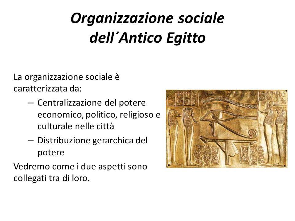Organizzazione sociale dell´Antico Egitto La organizzazione sociale è caratterizzata da: – Centralizzazione del potere economico, politico, religioso