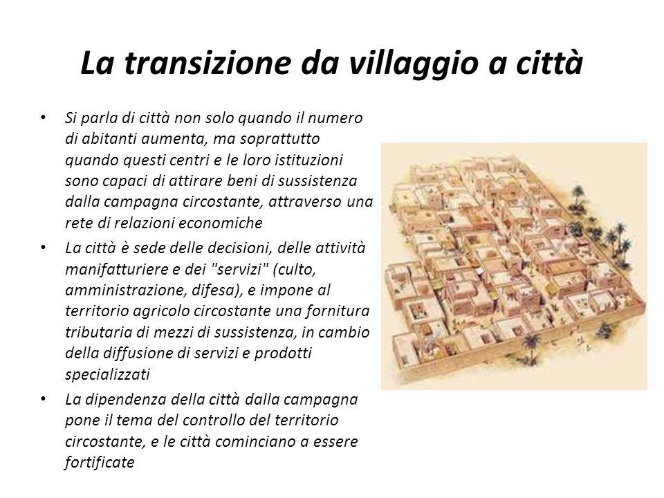 La transizione da villaggio a città Si parla di città non solo quando il numero di abitanti aumenta, ma soprattutto quando questi centri e le loro ist
