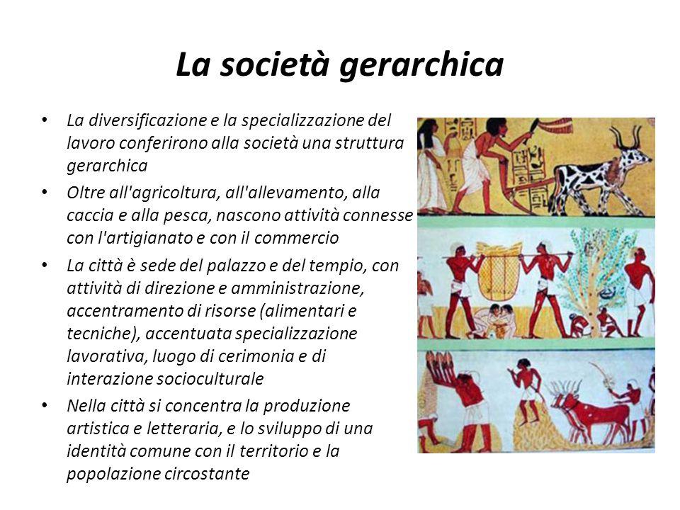 La società gerarchica La diversificazione e la specializzazione del lavoro conferirono alla società una struttura gerarchica Oltre all'agricoltura, al