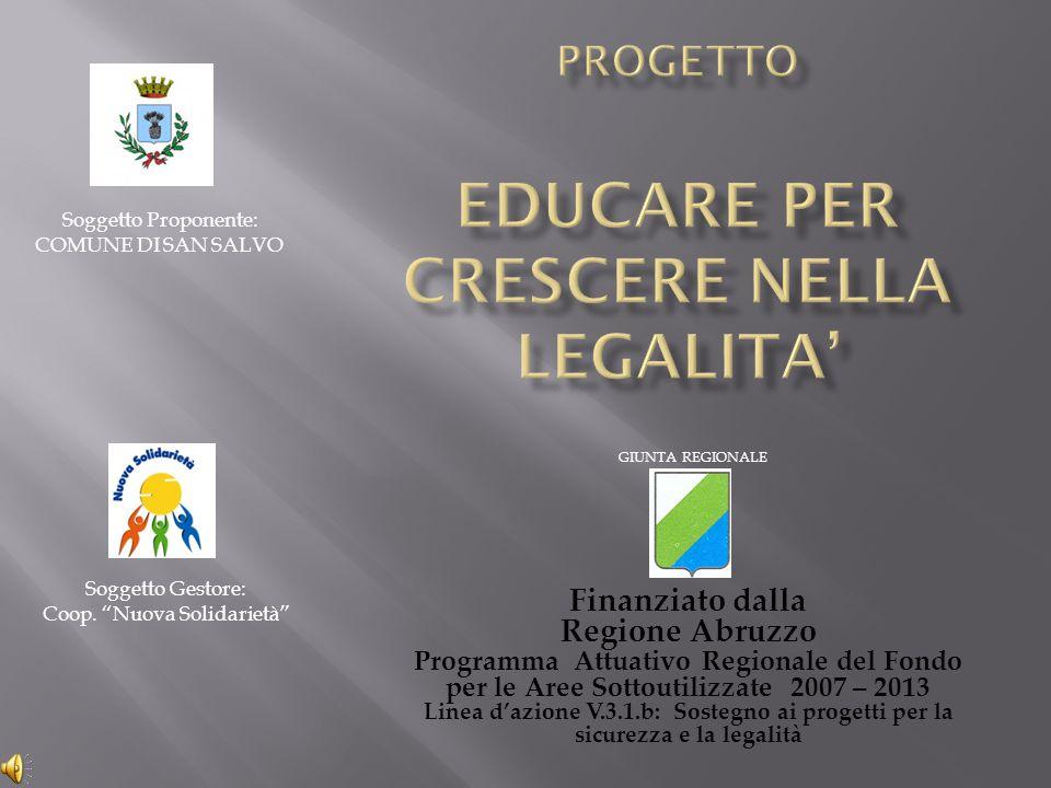 Finanziato dalla Regione Abruzzo Programma Attuativo Regionale del Fondo per le Aree Sottoutilizzate 2007 – 2013 Linea d'azione V.3.1.b: Sostegno ai p