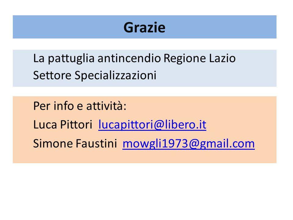 Grazie La pattuglia antincendio Regione Lazio Settore Specializzazioni Per info e attività: Luca Pittori lucapittori@libero.itlucapittori@libero.it Si