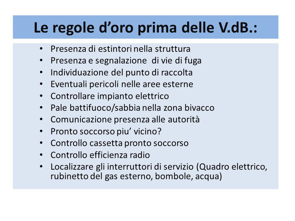 Le regole d'oro prima delle V.dB.: Presenza di estintori nella struttura Presenza e segnalazione di vie di fuga Individuazione del punto di raccolta E