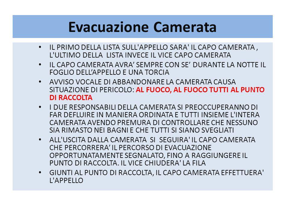 Evacuazione Camerata IL PRIMO DELLA LISTA SULL'APPELLO SARA' IL CAPO CAMERATA, L'ULTIMO DELLA LISTA INVECE IL VICE CAPO CAMERATA IL CAPO CAMERATA AVRA
