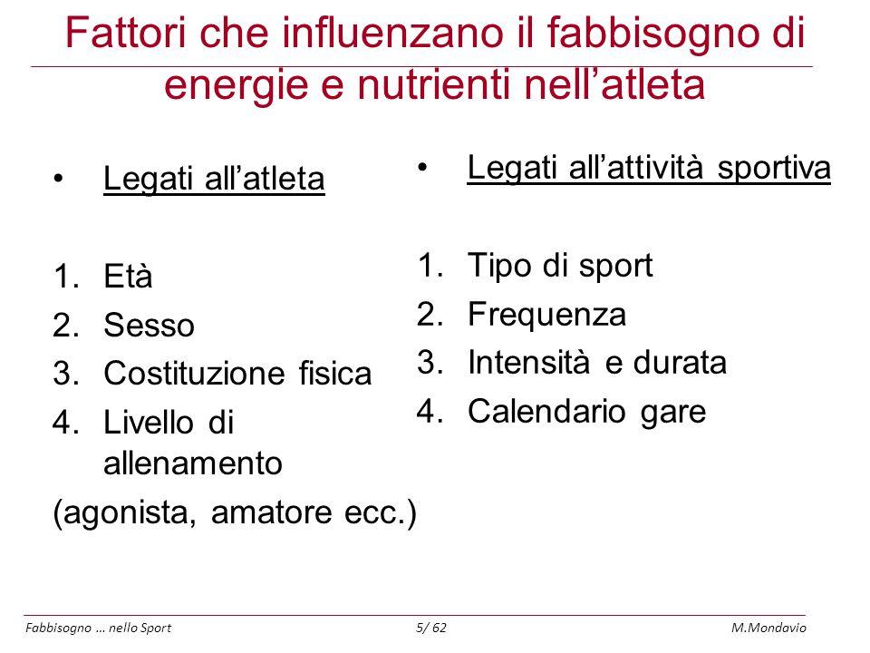 Fabbisogno … nello SportM.Mondavio26/ 62 Integrazione di Sali minerali I minerali di cui è più facile sviluppare carenza sono: Calcio, Ferro (donne) e Zinco.