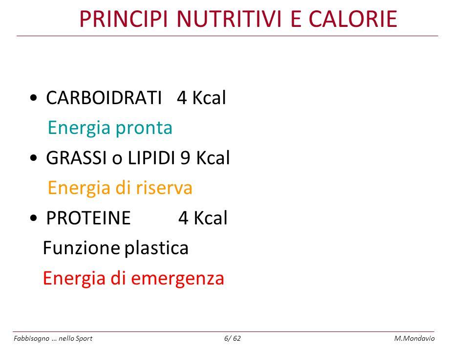 Fabbisogno … nello SportM.Mondavio7/ 62 Calorie e principi nutritivi Una dieta ADEGUATA(e), COMPLETA(n) ed EQUILIBRATA* è una componente essenziale di qualsiasi attività sportiva L'energia necessaria per chi svolge un' attività fisica intensa varia da 3000 a 6000 calorie al giorno derivanti da: –carboidrati 50%-65% (complessi 85% semplici 15% IG) –grassi 15%-30% (mono – polinsaturi) –proteine 15%-25% (animali/vegetali – 1:1) Sport di resistenza: aumenta quota dei carboidrati Sport di potenza: aumenta quota di proteine