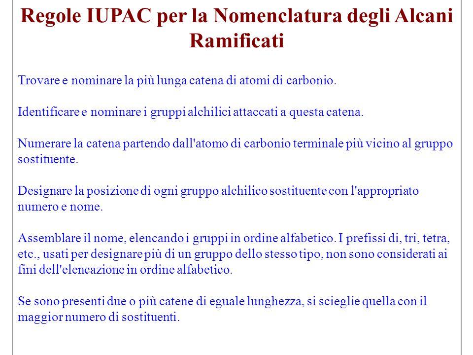 Regole IUPAC per la Nomenclatura degli Alcani Ramificati Trovare e nominare la più lunga catena di atomi di carbonio. Identificare e nominare i gruppi