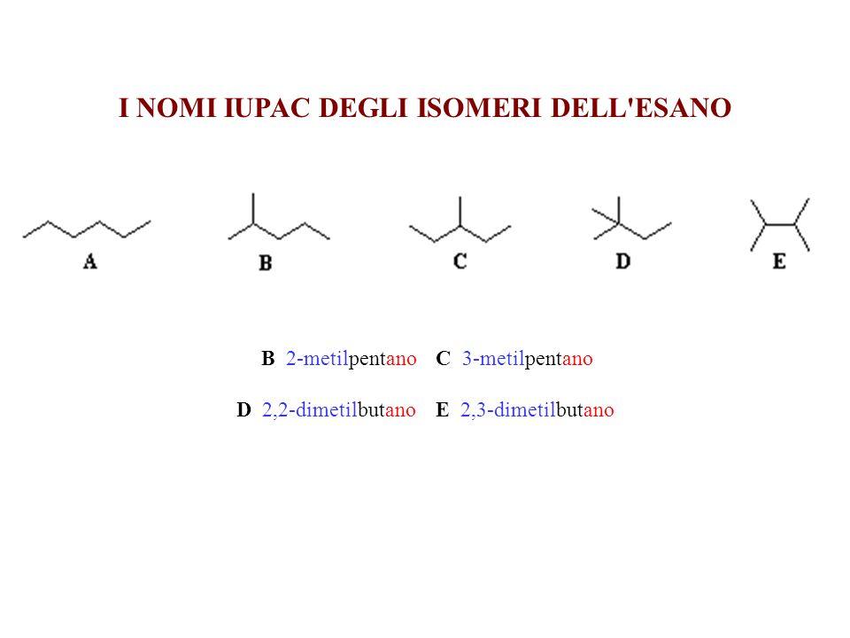 I NOMI IUPAC DEGLI ISOMERI DELL'ESANO B 2-metilpentano C 3-metilpentano D 2,2-dimetilbutano E 2,3-dimetilbutano