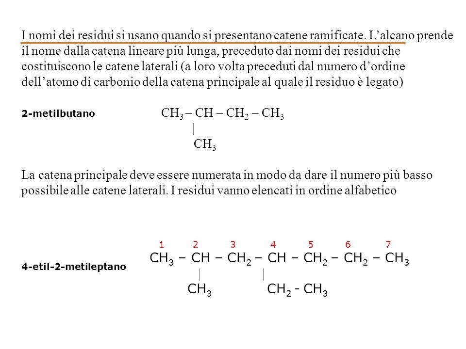 1 2 3 4 5 6 7 CH 3 – CH – CH 2 – CH – CH 2 – CH 2 – CH 3 | | CH 3 CH 2 - CH 3 4-etil-2-metileptano I nomi dei residui si usano quando si presentano ca