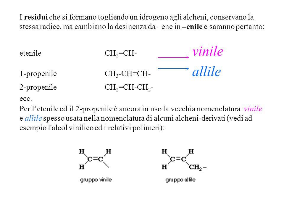 Per l'etenile ed il 2-propenile è ancora in uso la vecchia nomenclatura: vinile e allile spesso usata nella nomenclatura di alcuni alcheni-derivati (v