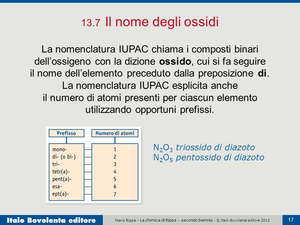 Mario Rippa – La chimica di Rippa – secondo biennio - © Italo Bovolenta editore 2012 17 13.7 Il nome degli ossidi La nomenclatura IUPAC chiama i compo