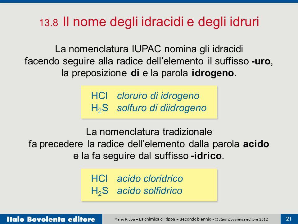 Mario Rippa – La chimica di Rippa – secondo biennio - © Italo Bovolenta editore 2012 21 13.8 Il nome degli idracidi e degli idruri La nomenclatura IUP