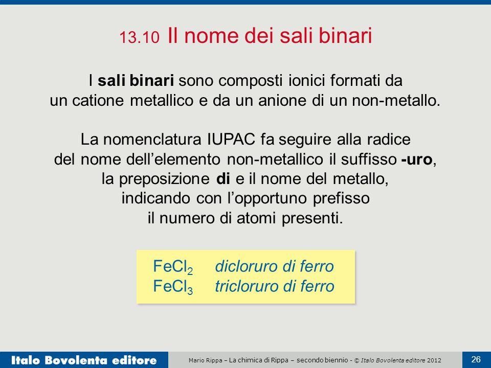 Mario Rippa – La chimica di Rippa – secondo biennio - © Italo Bovolenta editore 2012 26 13.10 Il nome dei sali binari I sali binari sono composti ioni
