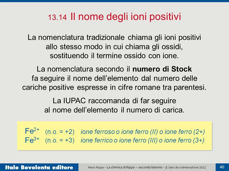 Mario Rippa – La chimica di Rippa – secondo biennio - © Italo Bovolenta editore 2012 40 13.14 Il nome degli ioni positivi La nomenclatura tradizionale