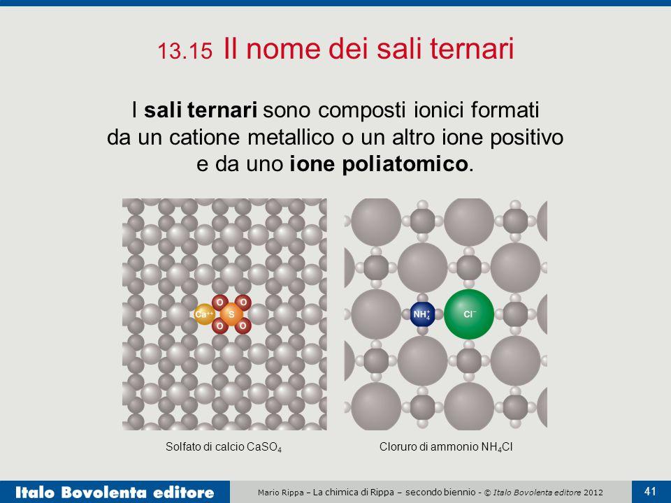 Mario Rippa – La chimica di Rippa – secondo biennio - © Italo Bovolenta editore 2012 41 13.15 Il nome dei sali ternari I sali ternari sono composti io