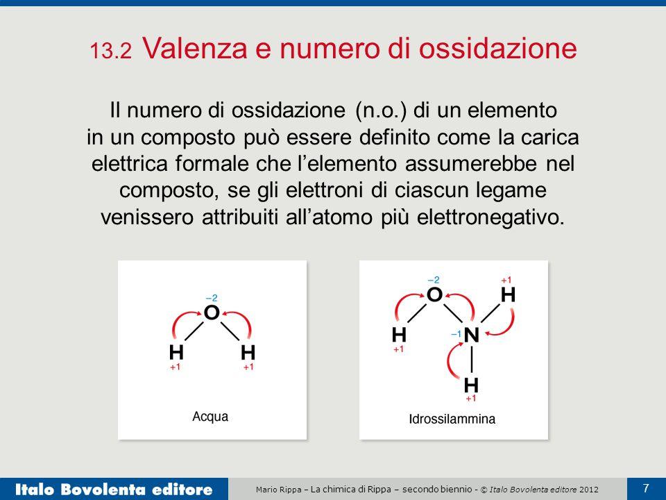 Mario Rippa – La chimica di Rippa – secondo biennio - © Italo Bovolenta editore 2012 7 13.2 Valenza e numero di ossidazione Il numero di ossidazione (
