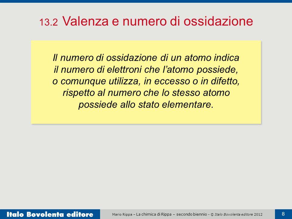 Mario Rippa – La chimica di Rippa – secondo biennio - © Italo Bovolenta editore 2012 8 13.2 Valenza e numero di ossidazione Il numero di ossidazione d