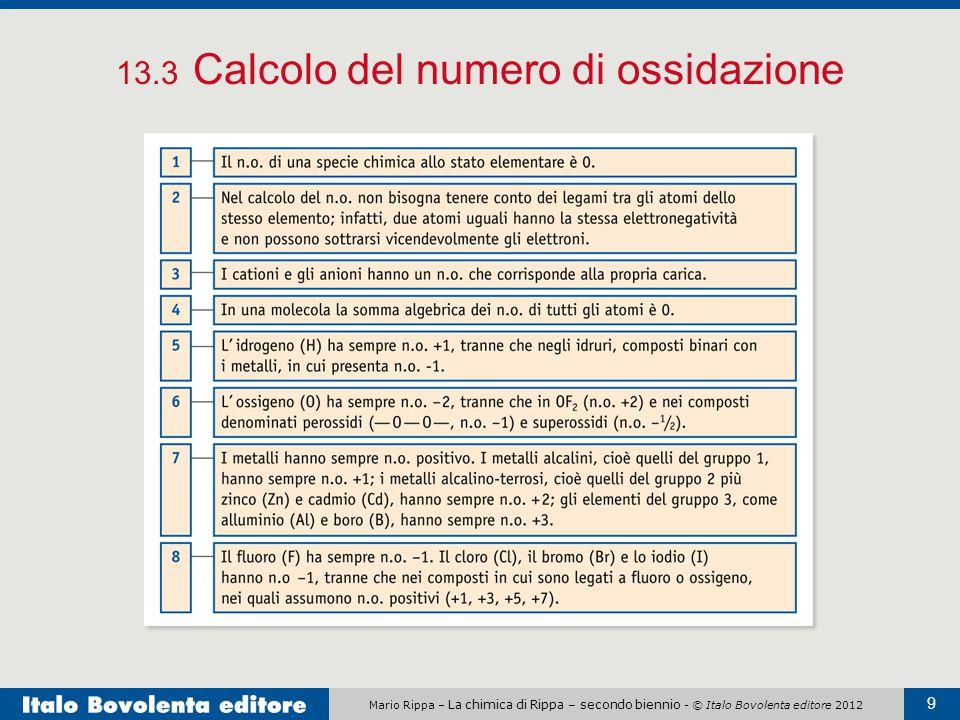 Mario Rippa – La chimica di Rippa – secondo biennio - © Italo Bovolenta editore 2012 9 13.3 Calcolo del numero di ossidazione