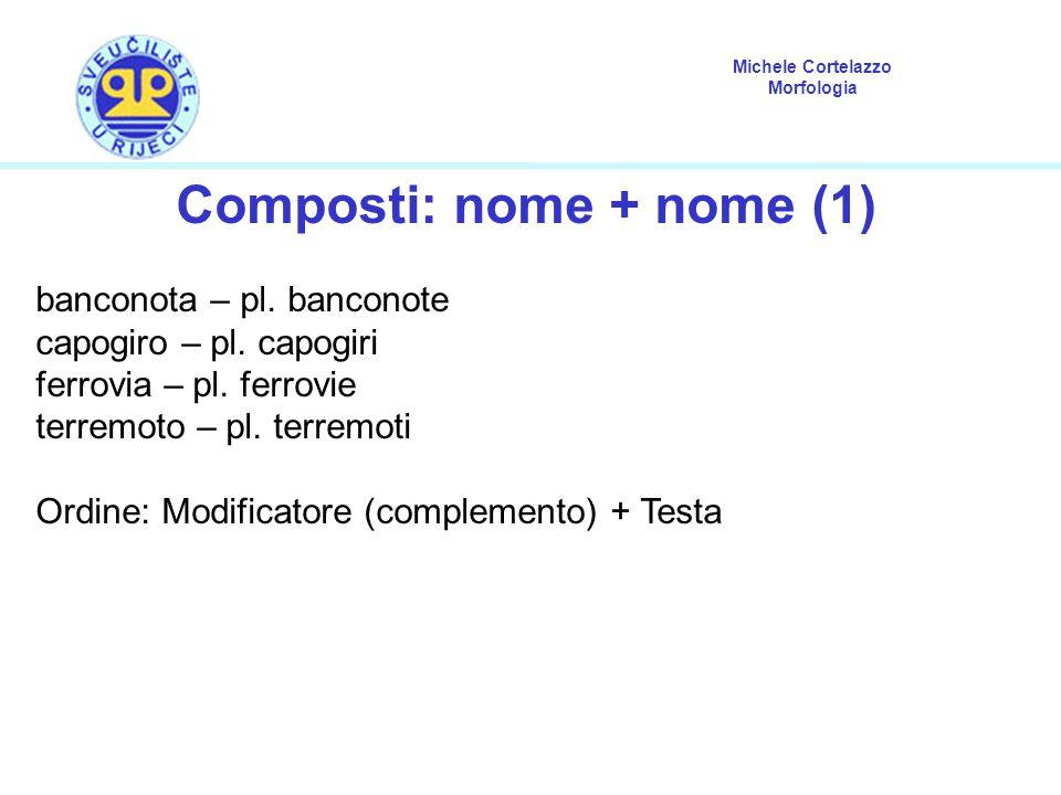 Michele Cortelazzo Morfologia Composti: nome + nome (1) banconota – pl. banconote capogiro – pl. capogiri ferrovia – pl. ferrovie terremoto – pl. terr