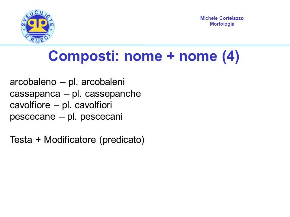 Michele Cortelazzo Morfologia Composti: nome + nome (4) arcobaleno – pl. arcobaleni cassapanca – pl. cassepanche cavolfiore – pl. cavolfiori pescecane