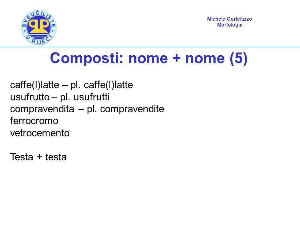 Michele Cortelazzo Morfologia Composti: nome + nome (5) caffe(l)latte – pl. caffe(l)latte usufrutto – pl. usufrutti compravendita – pl. compravendite