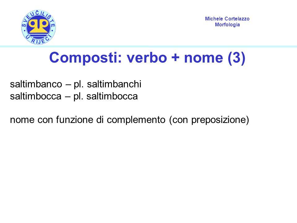 Michele Cortelazzo Morfologia Composti: verbo + nome (3) saltimbanco – pl. saltimbanchi saltimbocca – pl. saltimbocca nome con funzione di complemento