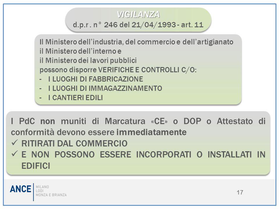 17 VIGILANZA d.p.r. n° 246 del 21/04/1993 - art. 11VIGILANZA Il Ministero dell'industria, del commercio e dell'artigianato il Ministero dell'interno e