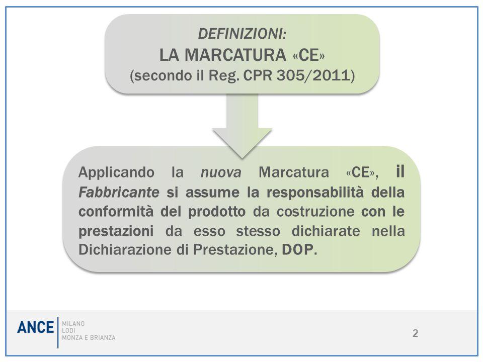 2 Applicando la nuova Marcatura «CE», il Fabbricante si assume la responsabilità della conformità del prodotto da costruzione con le prestazioni da es