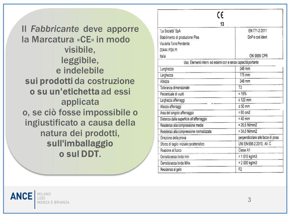 3 Il Fabbricante deve apporre la Marcatura «CE» in modo visibile, leggibile, e indelebile sui prodotti da costruzione o su un'etichetta ad essi applic