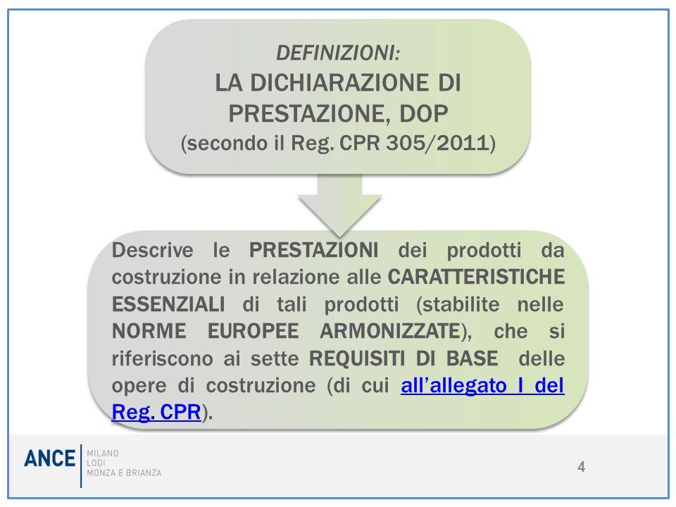 4 Descrive le PRESTAZIONI dei prodotti da costruzione in relazione alle CARATTERISTICHE ESSENZIALI di tali prodotti (stabilite nelle NORME EUROPEE ARM