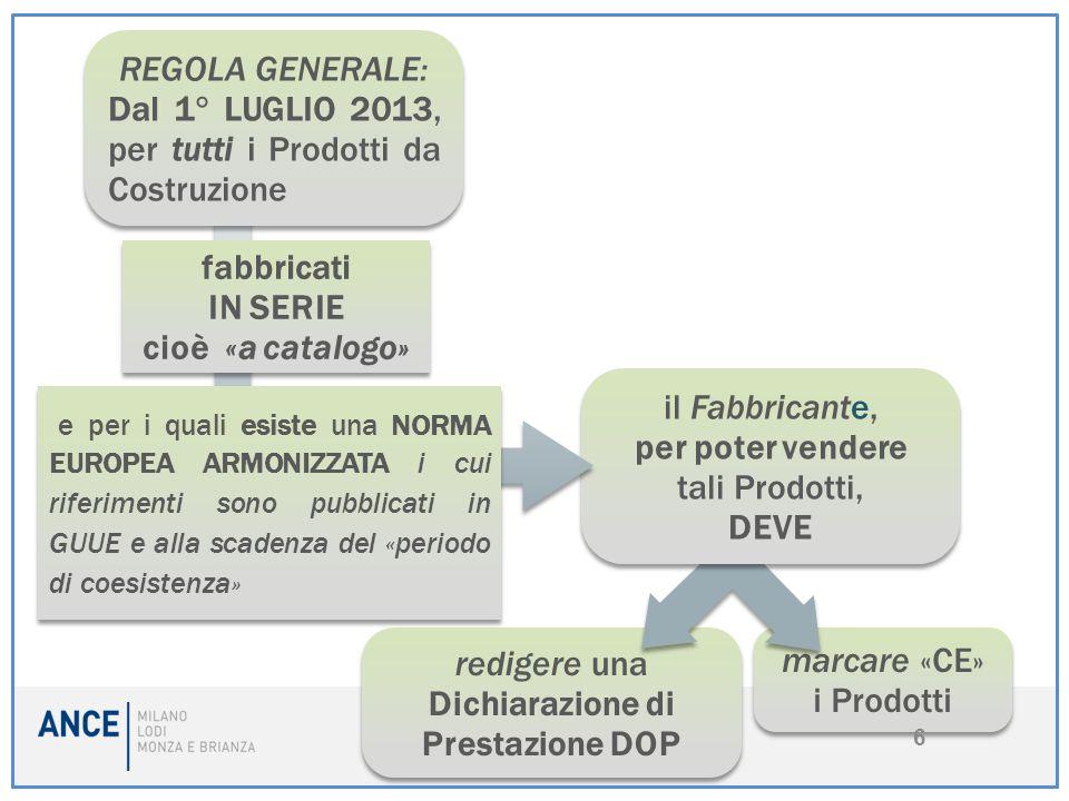 7 Nota bene (1): L'obbligo della Marcatura «CE» e DOP per i PdC è direttamente connesso alla pubblicazione sulla GUUEGUUE dei riferimenti della relativa Norma Europea Armonizzata ed alla scadenza del «periodo di coesistenza», e non al recepimento della stessa dagli organi di normazione dei singoli Stati membri (in Italia l'UNI - Ente Italiano di Normazione).