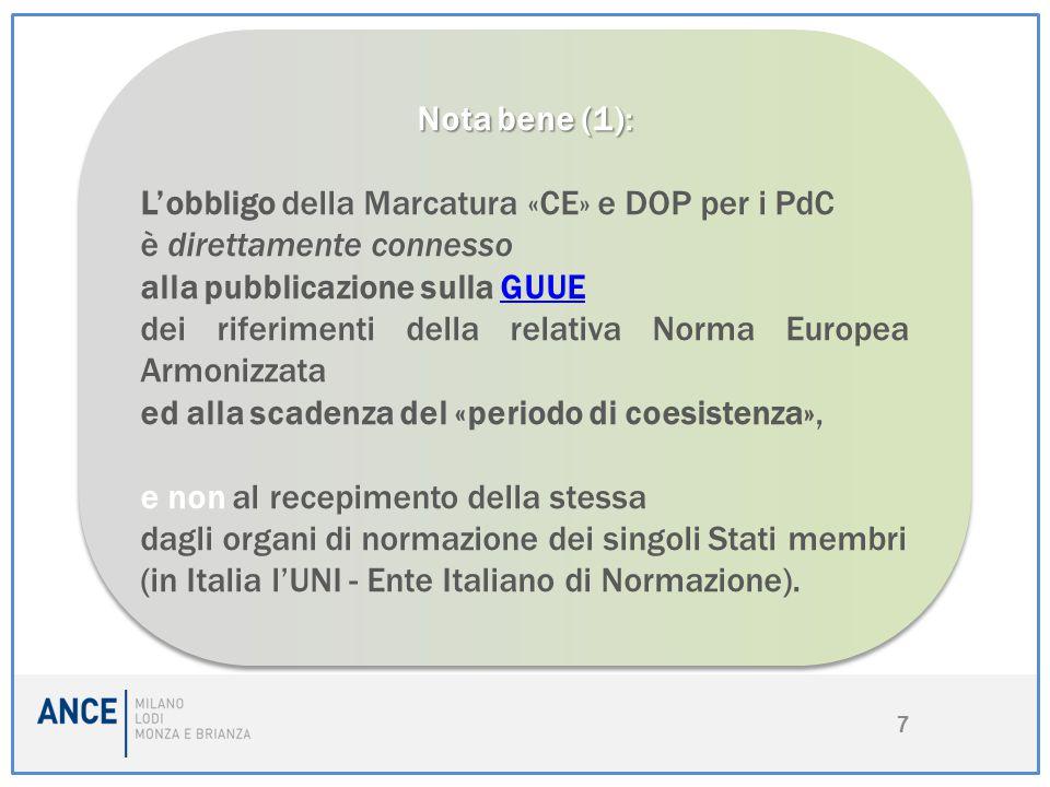 7 Nota bene (1): L'obbligo della Marcatura «CE» e DOP per i PdC è direttamente connesso alla pubblicazione sulla GUUEGUUE dei riferimenti della relati