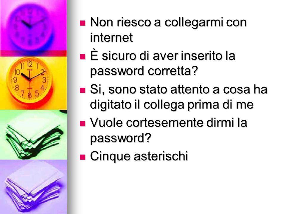 Non riesco a collegarmi con internet Non riesco a collegarmi con internet È sicuro di aver inserito la password corretta? È sicuro di aver inserito la