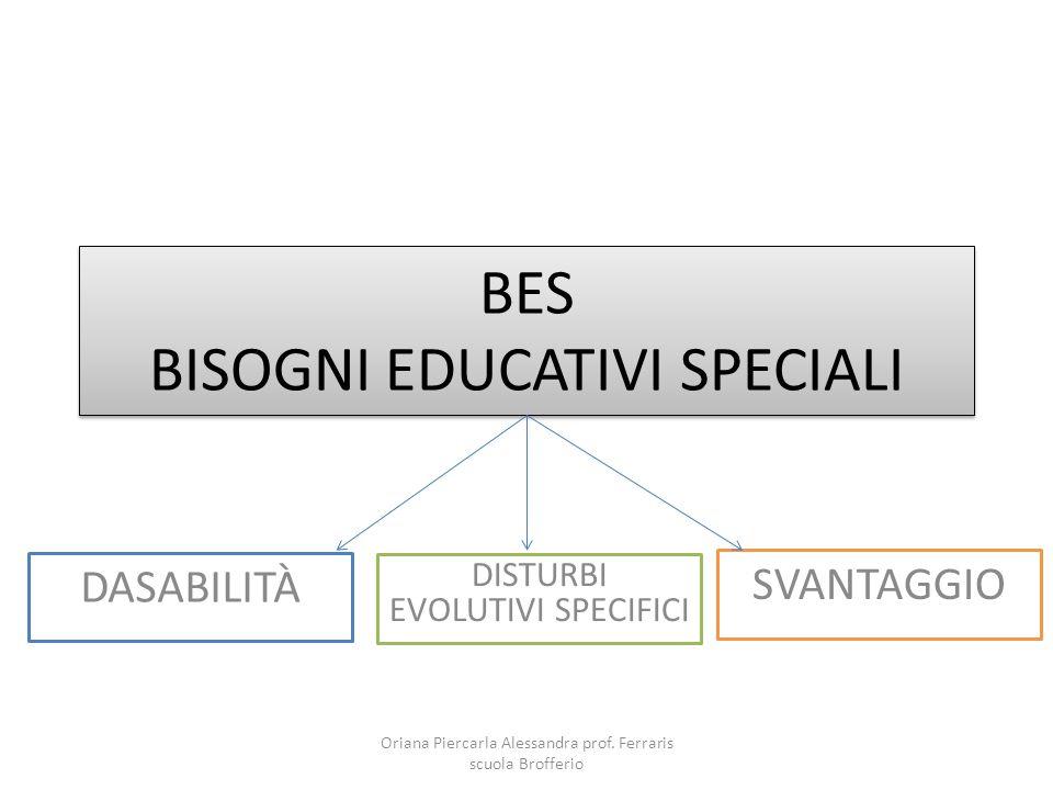 BES BISOGNI EDUCATIVI SPECIALI DASABILITÀ DISTURBI EVOLUTIVI SPECIFICI SVANTAGGIO Oriana Piercarla Alessandra prof. Ferraris scuola Brofferio